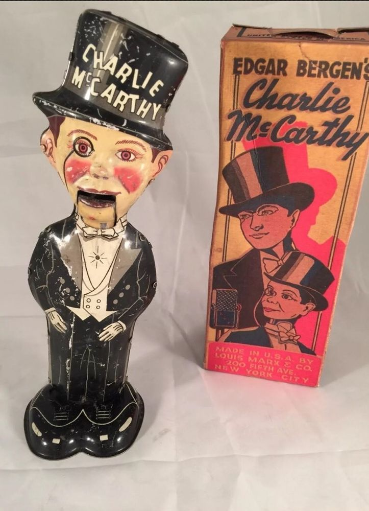 1930's Vintage Marx Tin Lithograph Charlie McCarthy Wind Up Tin Toy Works W/Box #Marx