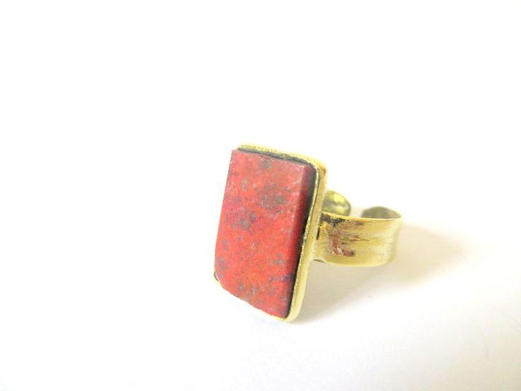 Brass Rectangular Cuprite ring by Picossa on Etsy
