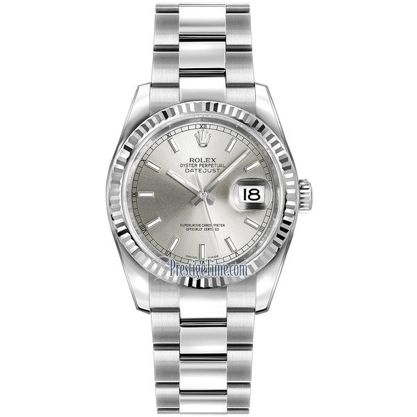 Rolex Datejust 36mm Stainless Steel 116234 Silver Index Oyster Watch ($7,065) ❤ liked on Polyvore featuring jewelry, watches, accessories, stainless steel, rolex, bezel jewelry, silver watches, crown jewelry and rolex wrist watch