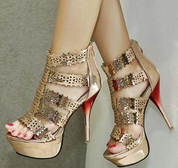 Platform Open Toe Short Boot Stiletto High Heels Sandals