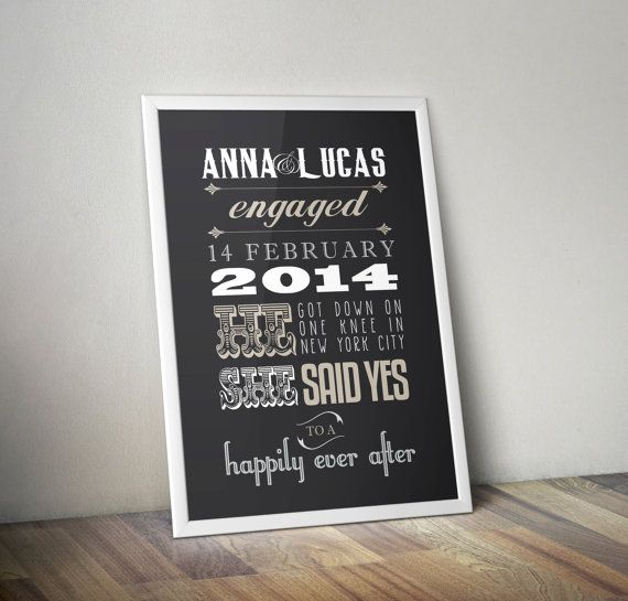 Engagement Gift Personalised Engagement Print Custom by 27DesignSt