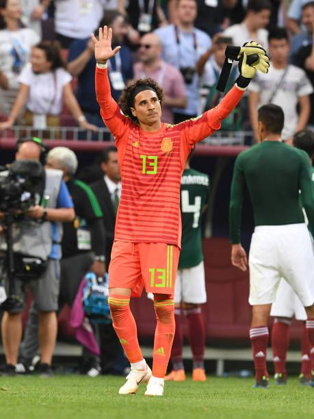 de1fceca4d7 Guillermo Ochoa of Mexico applauds fans after the 2018 FIFA World Cup  Russia group F match between Germany and Mexico at Luzhniki Stadium on June  17.