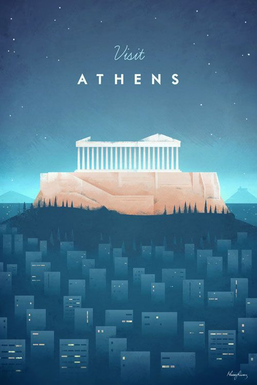 Vintage-style Athens Vintage Travel Poster by Henry Rivers
