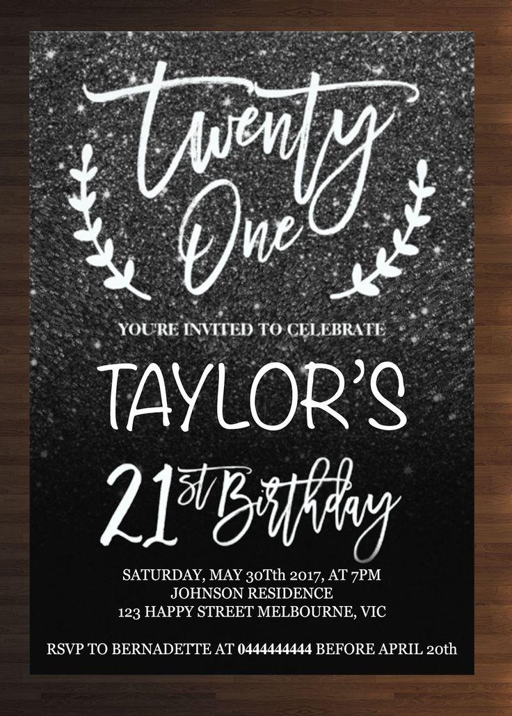 Custom 21st Birthday Invitation Prints