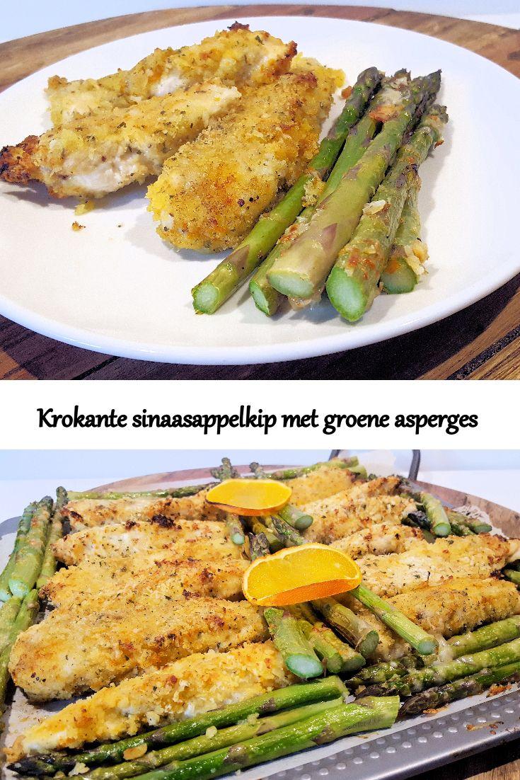 Krokante kip met sinaasappel en groene asperges