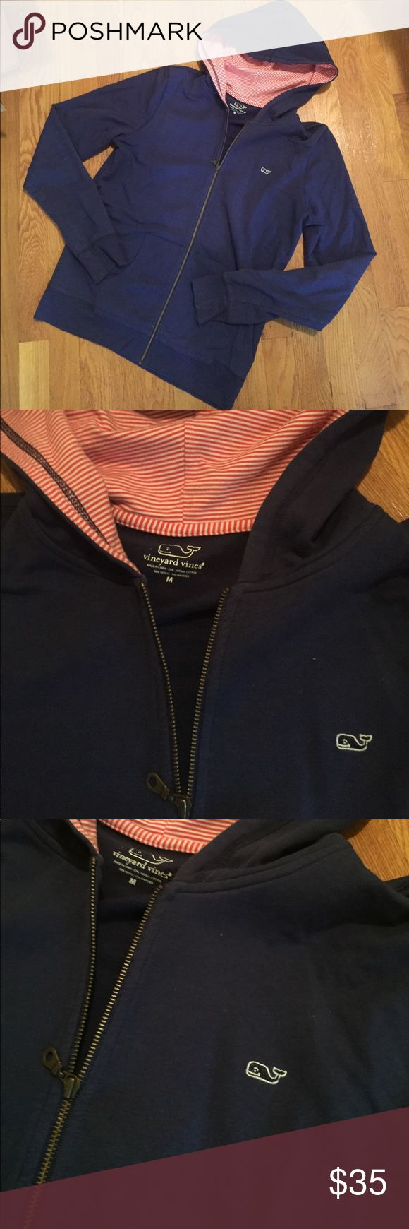 Vineyard vines size M navy zip up Navy/ white and red stripe zip up. Worn less than 5 times. Size medium. Vineyard Vines Tops Sweatshirts & Hoodies