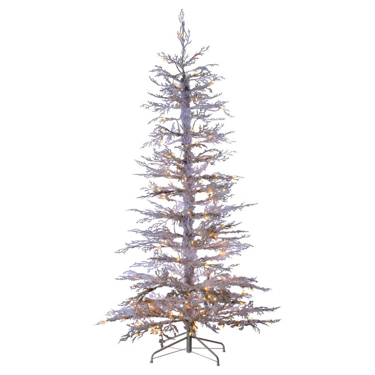 6.5ft Pre-Lit Flocked White Artificial Christmas Tree Full Pine with Clear Lights