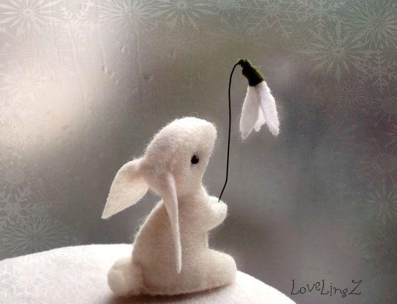 Felt bunny with snow drop flower white woodland mini by LoveLingZ