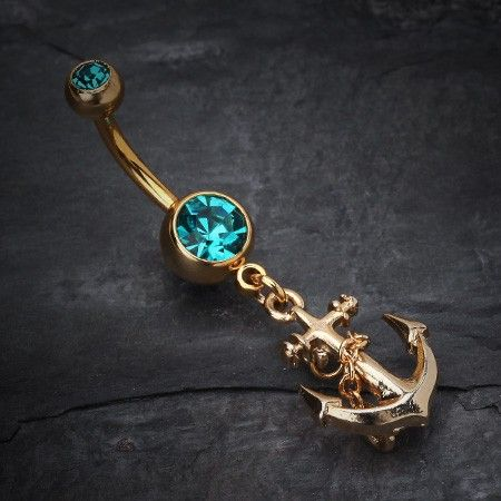 Golden Classic Anchor Belly Ring #piercing #navelring #bbring #anchor