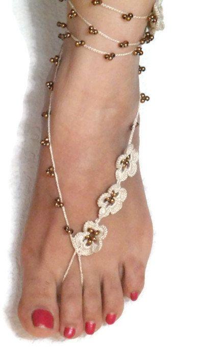 Beige Crochet Barefoot Sandals Beaded Ankle Bracelet by Nakkashe