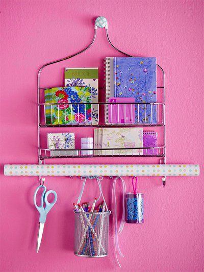 Move your shower caddy from the bathroom to the craft room to create this easy storage station