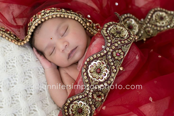 newborn, indian, traditional indian wedding veil, baby wrapped in wedding veil, indian jewelry, red, baby girl, newborn photo