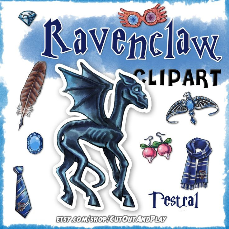 Testral Ravenclaw house clipart printable for your planner, journal, birthday card decorations and fun. #etsy #hogwarts #houses #ravenclaw #clipart #graphics #luna #lovegood #fanart #dumbledore #harry #potter #planner #journal #journaling #cardmaking