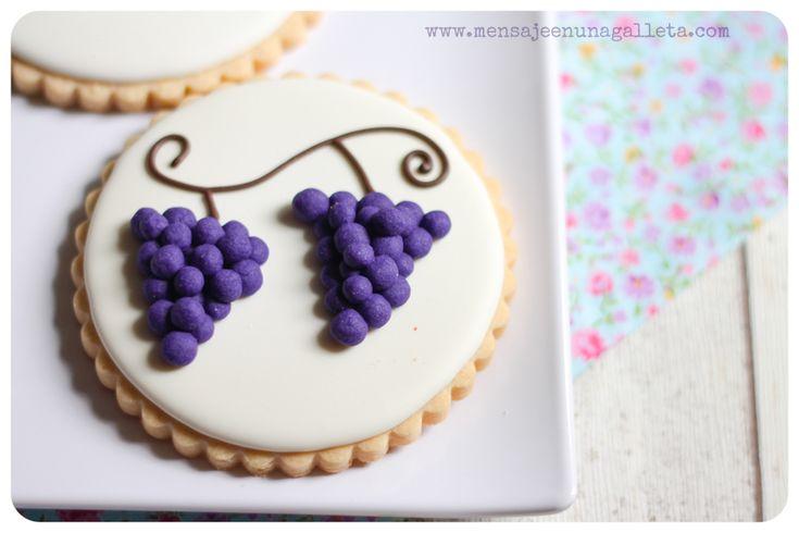 Uvas y grosellas: cómo hacer transfers de masa - Mensaje en una galleta