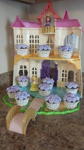 Gianna's Sofia the First Birthday Party- cupcake display