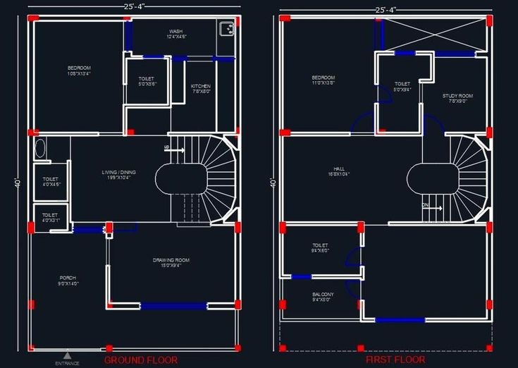 2 Story Floor Plans Homes Measurements