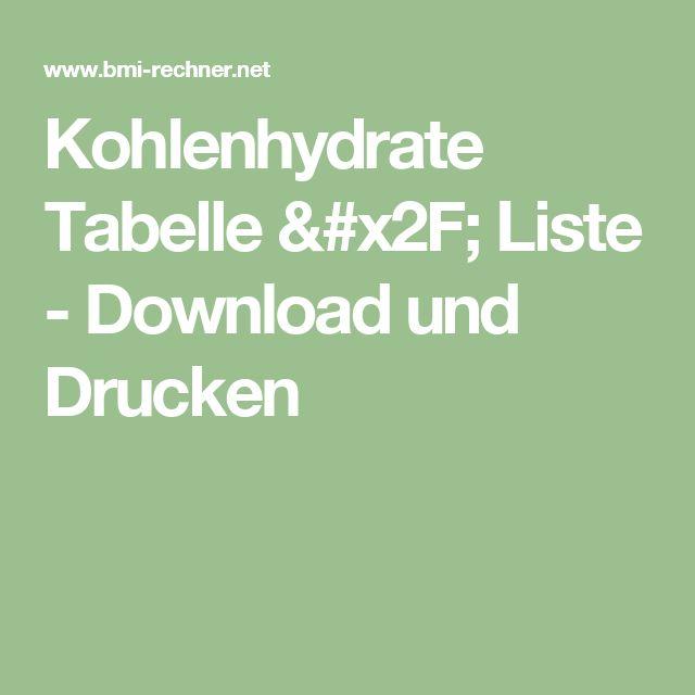 Kohlenhydrate Tabelle / Liste - Download und Drucken