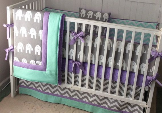 chevron elephant purple baby crib