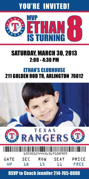 Texas Rangers Birthday Invitation