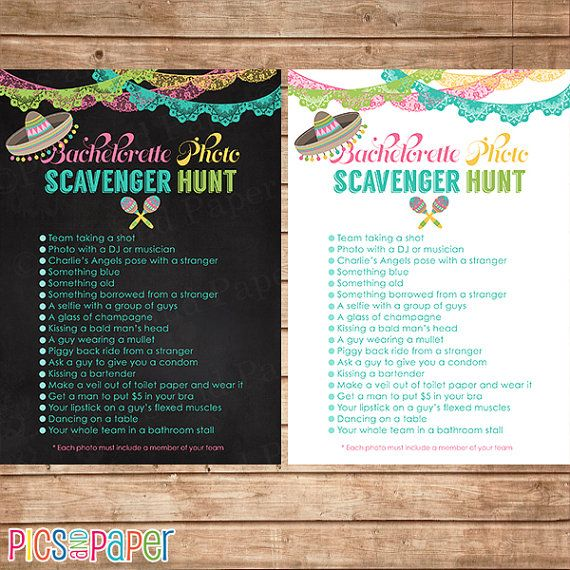 Bachelorette Party Photo Scavenger Hunt Game with by PicsandPaper