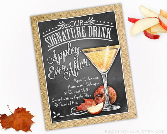 Fall Autumn Wedding Decoration Signature Drink by RockinChalk