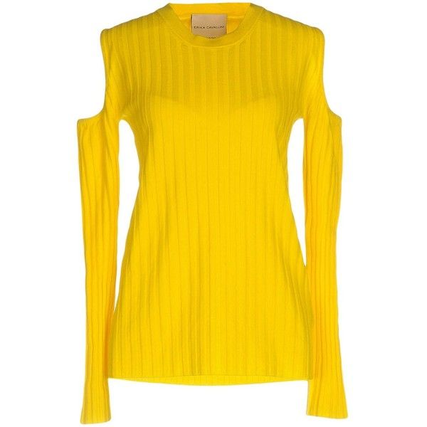 Erika Cavallini Jumper (615 PEN) ❤ liked on Polyvore featuring tops, sweaters, yellow, long sleeve sweater, yellow top, yellow long sleeve top, long sleeve tops and extra long sleeve sweater