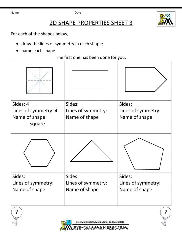 Printable Worksheets 2 d shapes worksheets : The 25+ best 2d shape properties ideas on Pinterest | 3d shape ...