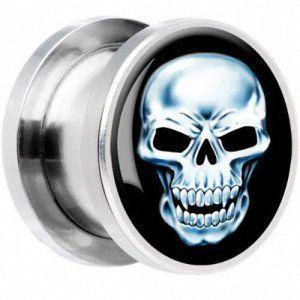 KULTPIERCING tunnel de #piercing en #acier chirurgical motif white skull aMZ 152-5