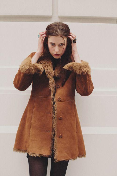 sheepskin coat/ I'm going to cut my long coat short...