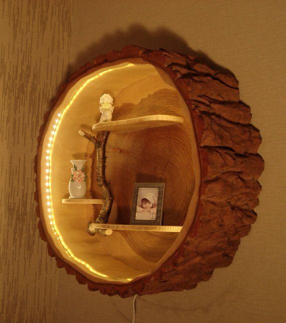 Wood Lamp And Wall Shelf From A Tree Trunk Ahsap Isciligi Ahsap Isleri Aydinlatma Tasarimi