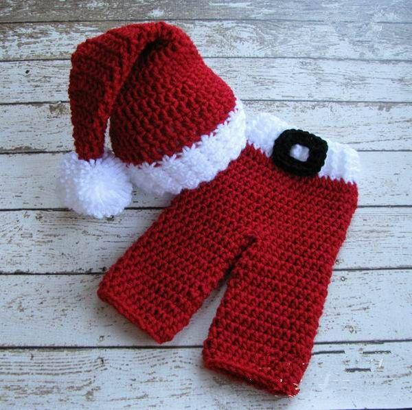 Красный Рождественский Набор Hat + брюки для Ручной Шапочки Костюм Вязания Крючком Фотография Опоры Новорожденных Фотография Детские Шапки и Шляпы