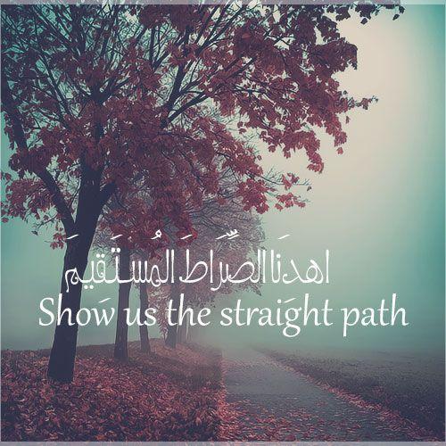 show us the straight path  Al Fatihah (The Opener) 1:6