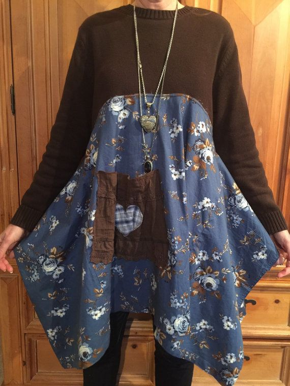 Medium Large XL Antique Blue Upcycled Tunic, Rustic Cabin Chic Tunic, Shabby Chic Romantic Tunic with Patcwork Pocket