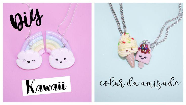DIY : 2 IDEIAS DE COLARES DA AMIZADE ARCO-ÍRIS KAWAII /  SORVETE , Picole - friends Necklaces Kawaii ice cream , Rainbow kawaii