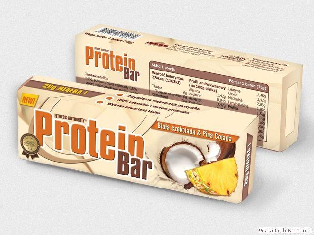 Opakowanie batona proteinowego o smaku białej czekolady i Pina Colady