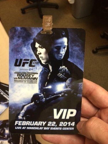 Up for consideration is an official UFC 170 VIP Pass from the Ronda Rousey match. This pass is in excellent condition and will come with the official lanyard. -- RONDAY ROUSEY UFC 170 OFFICIAL VIP PASS with LANYARD Fight Museum Las Vegas,http://www.amazon.com/dp/B00ILYMUKA/ref=cm_sw_r_pi_dp_1HRjtb1WDXM908XX
