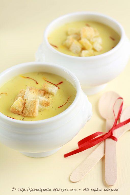 Crema di patate allo zafferano e olio tartufato Cream of potato and saffron with oil of truffle