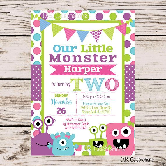 Monster Birthday Party Invitation Little Monster Party