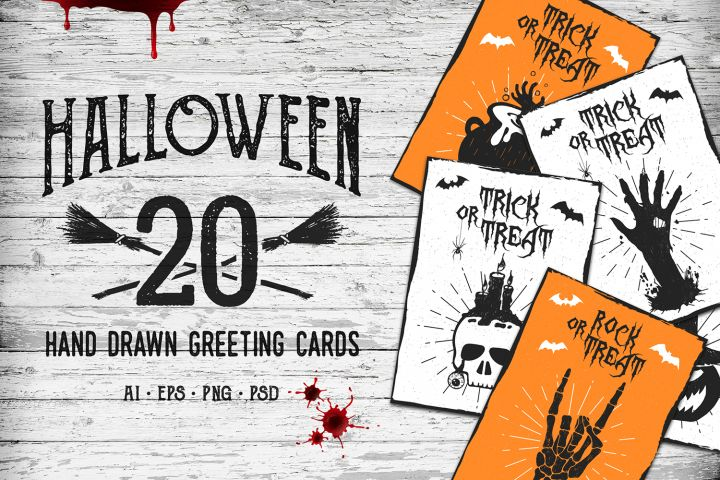 Halloween. 20 Greeting Cards - Free Design of The Week Design