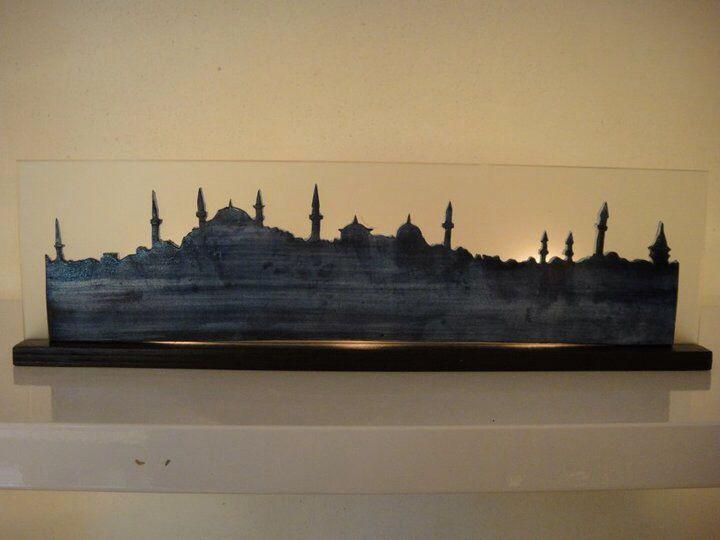Seramik İstanbul silüeti - mumluk