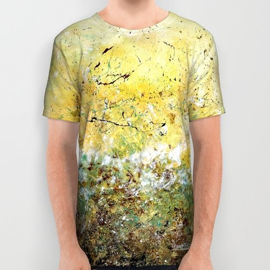 High quality yellow and green floral abstract unisex T-shirts for men and women by Vinn Wong | Full collection vinnwong.com | International Shipping | Visit the shop or Pin it For Later!
