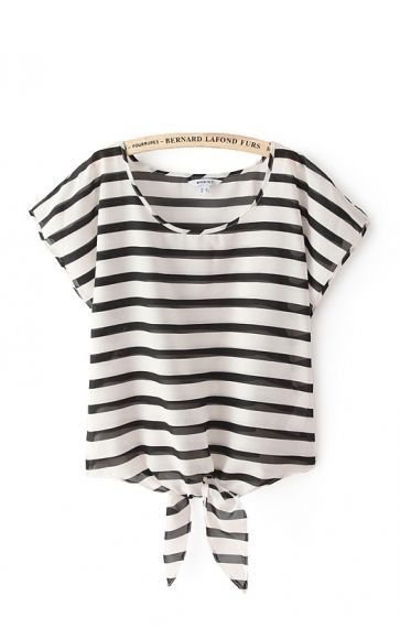 Black and White Stripe Chiffon Shirt