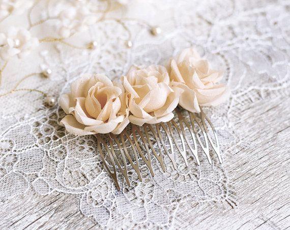 Wedding hair comb Cream hair accessories Hair flowers by ArsiArt