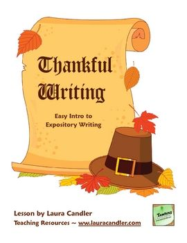 Thankful writing freebie. Easy Expository lesson for kids!