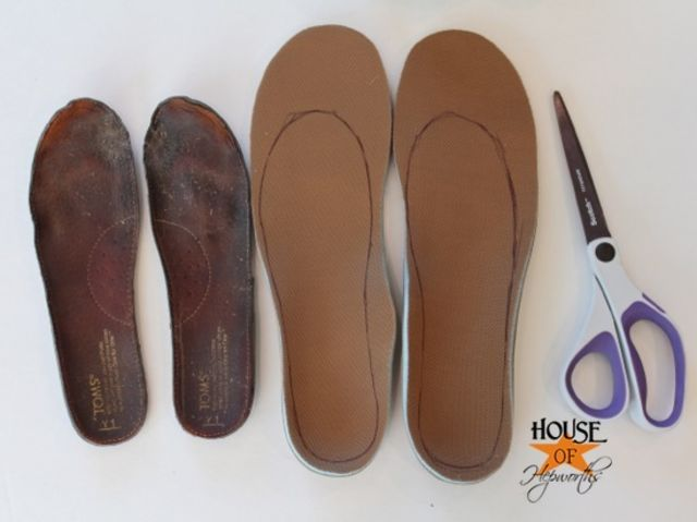 11. Replace old insoles:  use anything. You can even make an extra pair made of wool to insert for winter. I sew 2 pieces of wool together just for those cold days. If the day, or room, gets to hot, I just slip my wool inserts out and into my purse or bag.