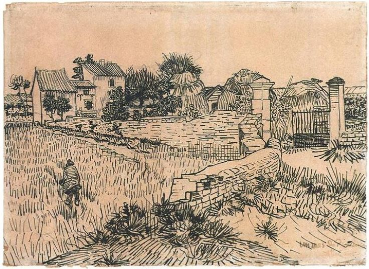 Entrance Gate to a Farm with Haystacks  Drawing, Pencil, reed pen, brown ink  Arles: 15-Jun, 1888  Rijksmuseum  Amsterdam, The Netherlands, Europe