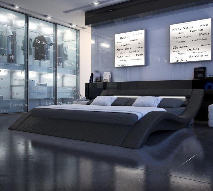 Modern Nerius Black Platform Bed - King