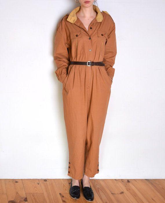 80's Betty Barclay jumpsuit dark beige desert by WoodhouseStudios