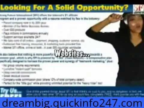 this is my introduction to SFI the company that is going to make me lots of money once I build my team of affiliates please visit http://dreambig.quickinfo247.com/ to join my great team thank you for the follow!! p.s this is a real business which requires some time a little money and dedication as well as being patient and persistent
