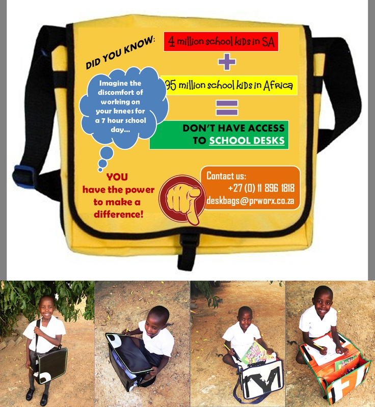 95 million children in Africa require school desks, DeskBags are made to provide a temporary solution until classrooms can be built and desks supplied.